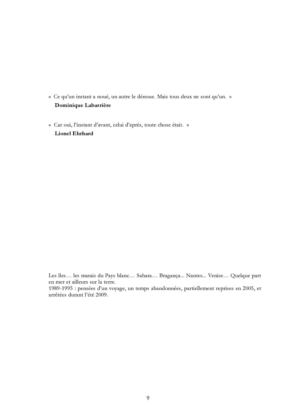Bernard Neau, Extraits d'En amont de l'oubli (1989-1995) - inédit