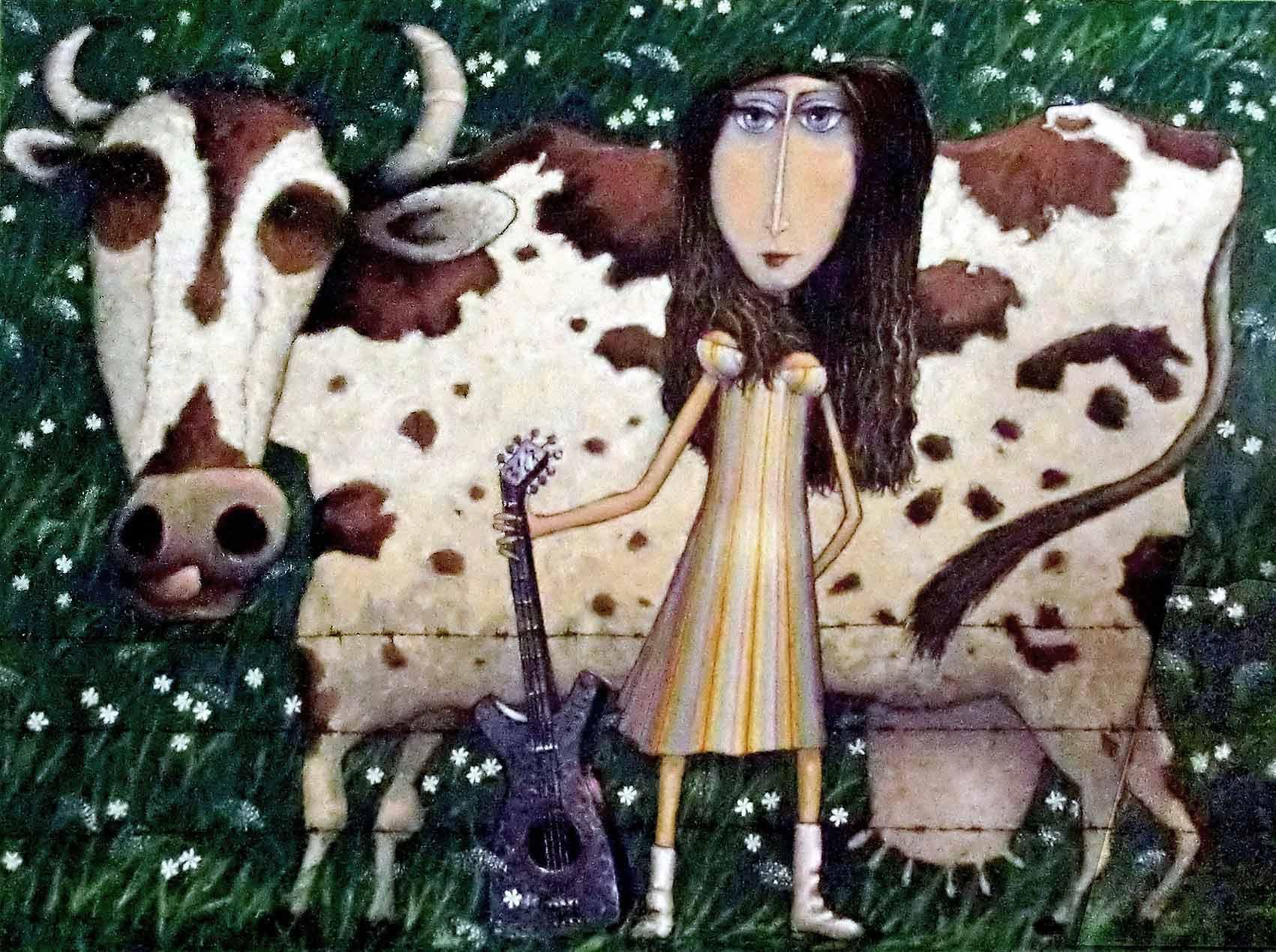 © Tiffoche. 1995 La vache et la fille à la guitare