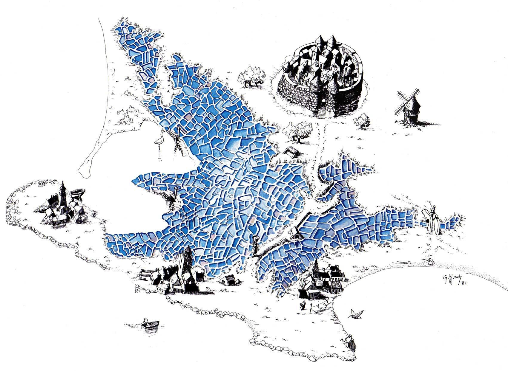 Carte du Pays blanc par © Gérald Musch, 1982